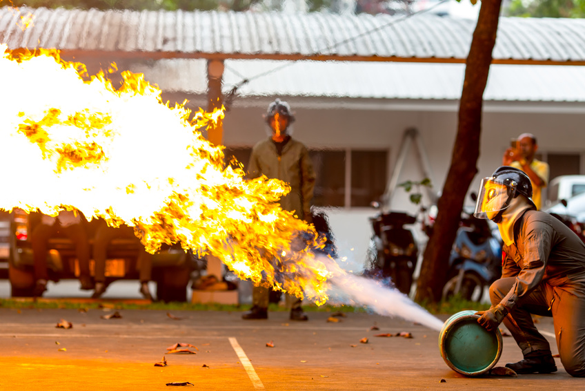 fire extinguisher on a training
